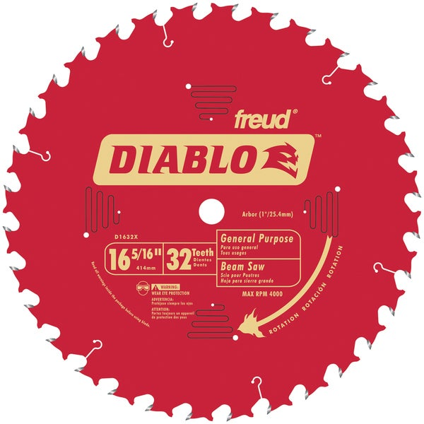 "Diablo D1632X 16-5/6"" 32T Diablo General Purpose Beam Saw Blade"