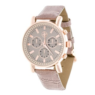 Fortune NYC Women's Boyfriend Rose Gold/ Grey Leather Strap Watch