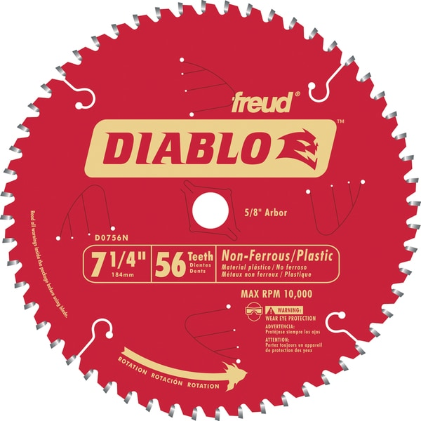 "Diablo D0756N 7-1/4"" 56T Diablo Non-Ferrous & Plastic Circular Saw Blade"