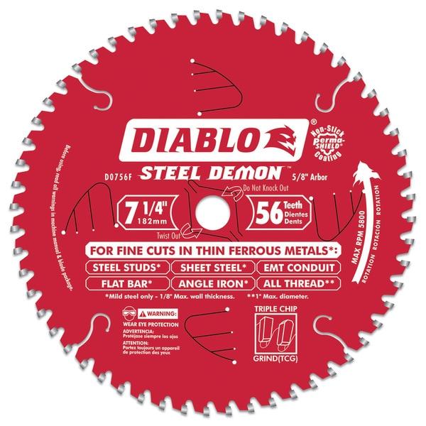 "Diablo D0756F 7-1/4"" 56T Diablos Steel Demon Ferrous Metal Circular Saw"