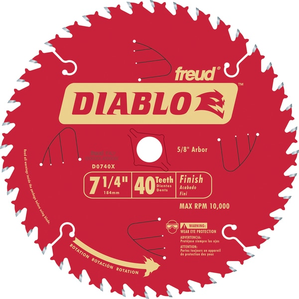 "Diablo D0740X 7-1/4"" 40T Diablo Finish Work Circular Saw Blade"