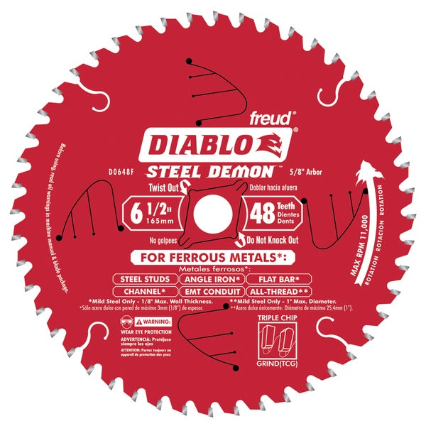 "Diablo D0648F 6-1/2"" 48T Diablo Ferrous Metal Circular Saw Blade"