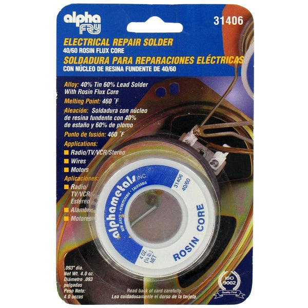 Alpha Fry AM31406 40/60 Electrical Rosin Core Solder