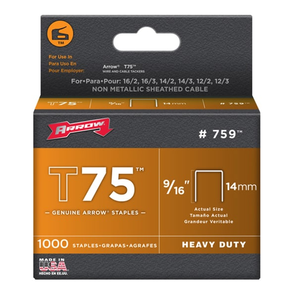 "Arrow Fastener 759 9/16"" T75 Tacker Staples 1,000-count"