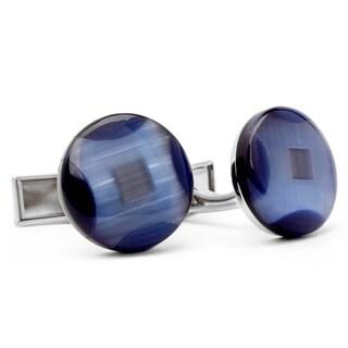 Metal Round Blue Stone Cufflinks