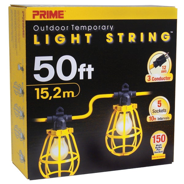 Prime LSUG2830 50' 12/3 SJTW Yellow 5-Light U-Ground Light String