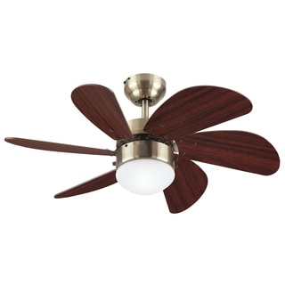 "Westinghouse 7824865 30"" Antique Brass Six Blade Ceiling Fan With Frosted Globe"