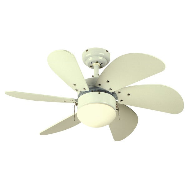 """Westinghouse 7814565 30"""" White Six Blade Ceiling Fan With Opal Globe"""