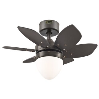 "Westinghouse 7222900 24"" Espresso Six Blade Reversible Ceiling Fan With Light"