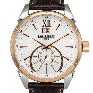 Paul Perret Utopia Men's Ronda 6004.B Movement Sapphire Sunray Satin Dial Genuine Leather Swiss Watch