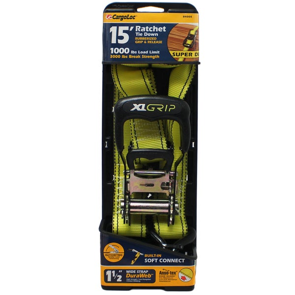 Allied International 84005 1.5-inch X 15' Neon Green Heavy Duty Wide Grip Ratchet Tie Down