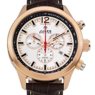 Jules Breting Nostromo Men's Ronda 5030.D Movement Sapphire Superluminova Genuine Leather Swiss Chronograph Watch