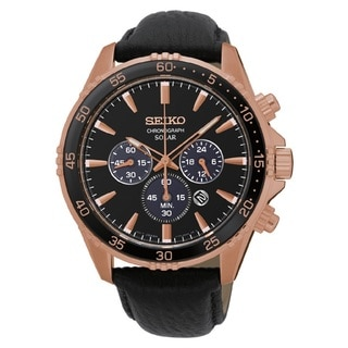 Seiko Men's SSC4498 Stainless Steel Solar Chronograph Watch with a Rose Gold and Black Dial and 100M Water Resistance