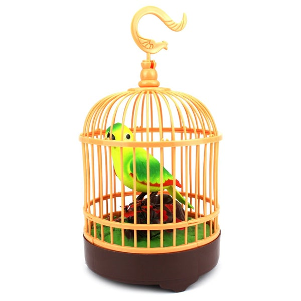 Velocity Toys Heartful Bird in Cage Lights Chirping Sounds Novelty Battery Operated Toy Figure Playset (Colors May Vary)