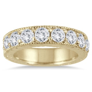 Marquee Jewels 10K Yellow Gold 1 1/2 CT Engraved Antique Diamond Band (I-J, I2-I3)