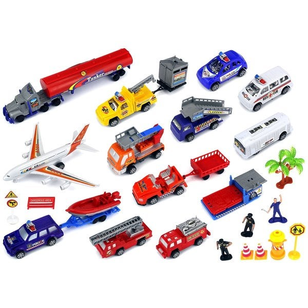 Velocity Toys Super City Airport Toy Vehicle Playset with Variety of Vehicles