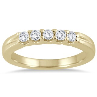 Marquee Jewels 14K Yellow Gold 1/4 CTW Prong Set 5-stone Diamond Band (I-J, I2-I3)