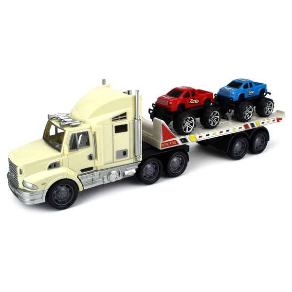 Velocity Toys Off-Road Truck Trailer 1:32 Friction Toy Truck Ready To Run with 2 Toy Trucks Colors May Vary