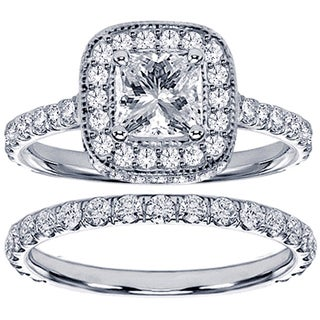 14k or 18k White Gold 2 3/4ct TDW Diamond Encrusted Princess-cut Engagement Ring Set