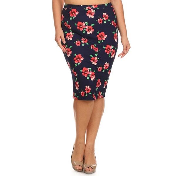 MOA Collection Plus Size Floral Pencil Skirt