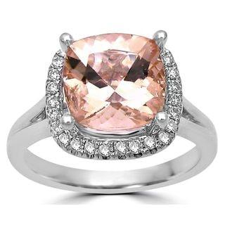 Noori 14k White Gold Morganite 1/5ct TDW Diamond Cushion Engagement Ring (G-H, SI1-SI2)