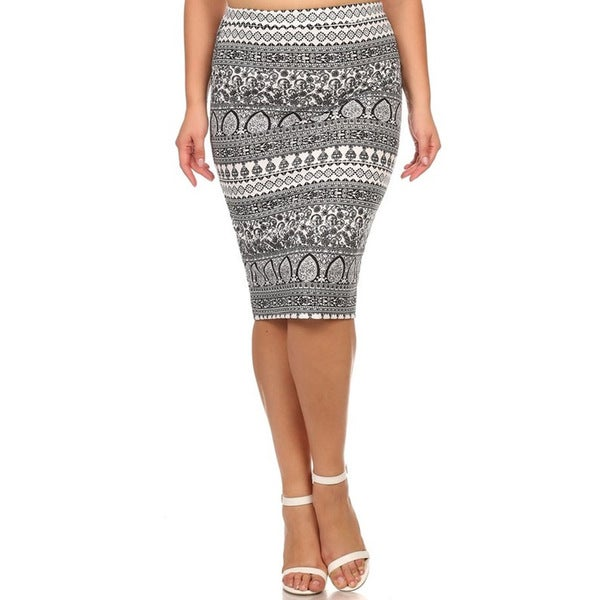 MOA Collection Plus Size Floral Stripe Skirt