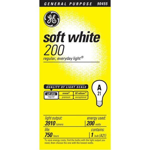 GE Lighting 44534 200 Watt Soft White Standard Incandescent Light Bulbs