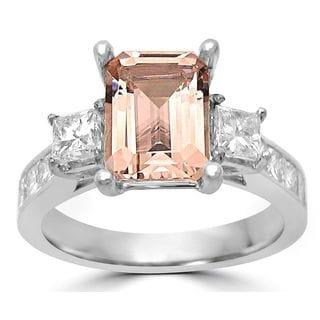 Noori 14k White Gold Morganite and 1 1/10ct TDW Diamond Three Stone Engagement Ring (G-H, SI1-SI2 )