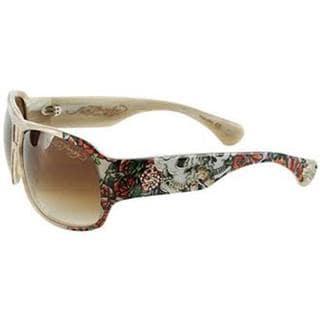 Ed Hardy Skull And Roses Brie Tortoise Sunglasses