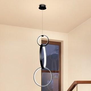 Vonn Lighting Capella 34 x 16-inches LED Adjustable Hanging Pendant Light Multi-Ring Modern Pendant Lighting in Black