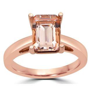 Noori 14k Rose Gold 1 3/5ct TGW Emerald-cut Morganite Solitaire Engagement Ring