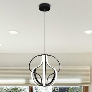 Capella 21-inches LED Adjustable Hanging Light Modern Globe Chandelier Lighting in Black