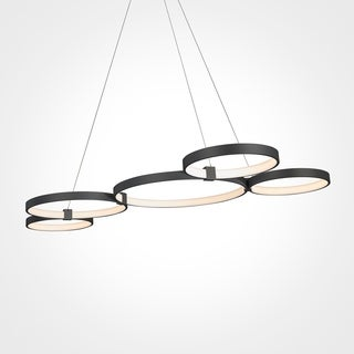 Vonn Lighting Capella 55-inches LED Chandelier Multi-Ring Adjustable Hanging Light in Black