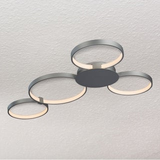 Capella 43-inches LED Ceiling Light Modern Multi-Ring Ceiling Fixture in Silver
