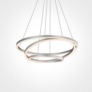 Vonn Lighting Tania Trio 32-inches LED Adjustable Hanging Light Modern Circular Chandelier Lighting in Silver