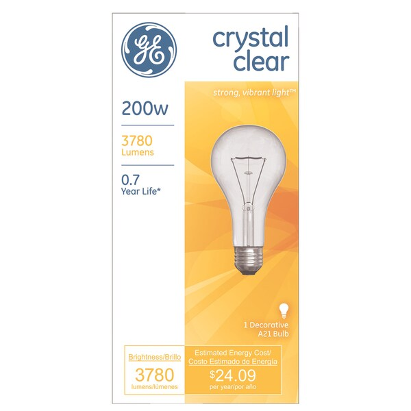 GE Lighting 16069 200 Watt Crystal Clear Incandescent Light Bulbs