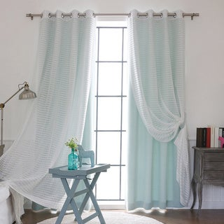 Aurora Home Mix and Match Blackout/Check Sheer Silver Grommet Curtain Panel (4-piece set)