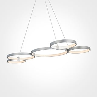 Vonn Lighting Capella 55-inches LED Chandelier Multi-Ring Adjustable Hanging Light in Silver