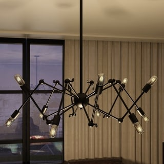 Dorado 39-inches Hanging Industrial Multi-Pivoting-Arm Chandelier Lighting with LED Filament Bulbs in Black