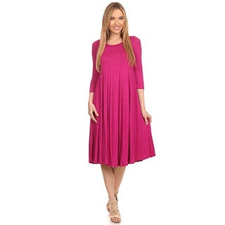 MOA Collection Women's A-Line Solid Dress