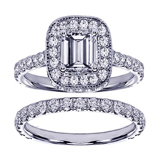 Platinum 2 2/5ct TDW Pave Set Diamond Encrusted Emerald-cut Engagement Ring Set