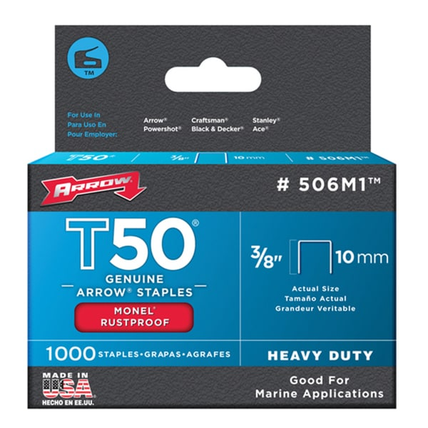"Arrow Fastener 506M1 3/8"" T50 Monel Staples"