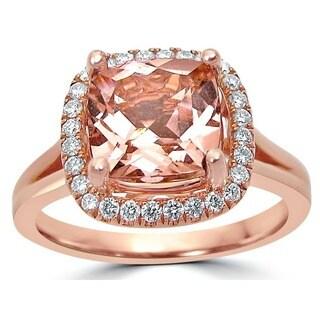 Noori 14k Rose Gold Morganite 1/5ct TDW Diamond Engagement Ring (G-H, SI1-SI2)