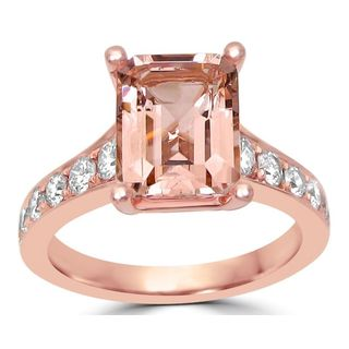 Noori 14k Rose Gold Morganite and 5/8ct TDW Diamond Engagement Ring (G-H, SI1-SI2)