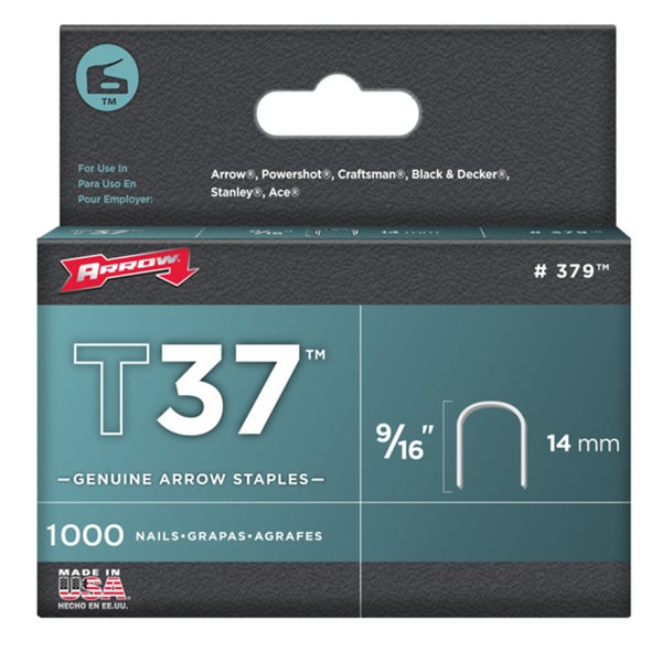"Arrow Fastener 379 9/16"" T37 Staples 1,000-count"