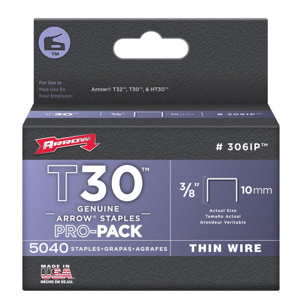 "Arrow Fastener 306IP 3/8"" T30 Staples"