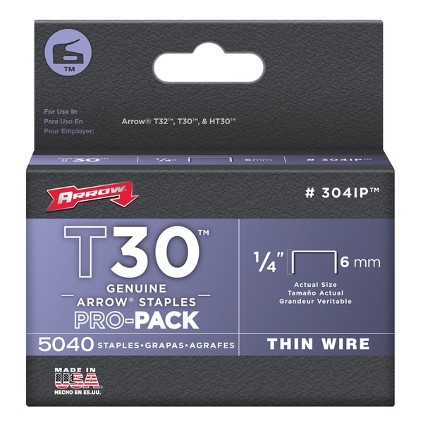 "Arrow Fastener 304IP 1/4"" T30 Staples"