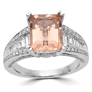Noori 18k White Gold 2 3/4ct TGW Morganite and 3/4ct TDW Diamond Engagement Ring (G-H, SI1-SI2)