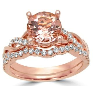 Noori 14k Rose Gold 2/5ct TDW Diamond and Morganite Bridal Set (G-H, SI1-SI2)