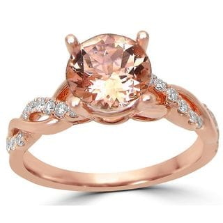 Noori 14k Rose Gold 1/5ct TDW Diamond and Morganite Engagement Ring (G-H, SI1-SI2)